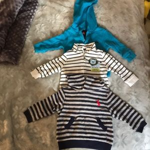 Lot of Baby Clothes 2-Pull/over w/Hood & 1-zipper